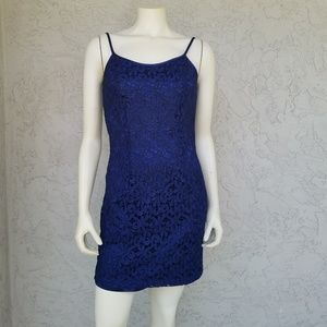 Aspeed Navy Blue Lace Shimmer Cocktail Dress
